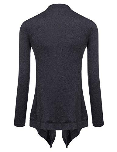 NEARKIN Cárdigan de túnica, abierto por el frente, de manga larga, liviano, para mujeres Nknkwcd692-charcoal