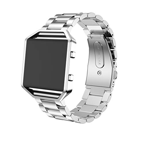 (Bracelet Band For Fitbit Blaze, Choosebuy Durable Stainless Steel Bamboo Shape Chain Waterproof Sports Replacement Wristband Women Men Bangles Strap For Fitbit Blaze Watch + Watch Frame (Silver))