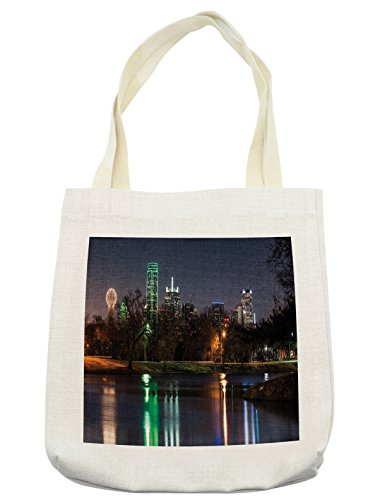 Lunarable USA Tote Bag, Dallas City Skyline Reflected in a Lake Park with Trees at Night Landscape Scenery, Cloth Linen Reusable Bag for Shopping Books Beach and More, 16.5