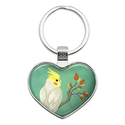 (Charming Cockatiel Yellow Crest Heart Love Metal Keychain Key Chain Ring)