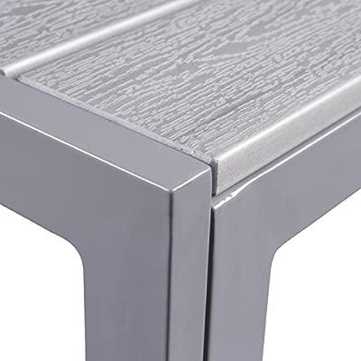 Vanage Mesa De Jardín Balcón Y Terraza Mesa De Aluminio Con Polywood Grande Pequeña Gris Negro