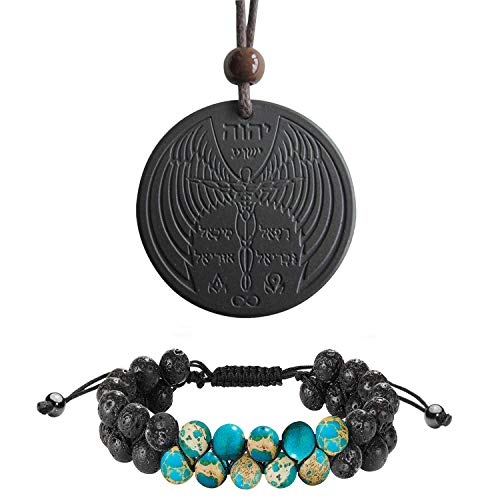Anti EMF Radiation Protection Pendant, Volcanic Lava Negative Ions Scalar Energy Pendant Necklace and Braided Double Layer Beads Adjustable Aromatherapy Essential Oil Diffuser Yoga Beads Bracelet from EneQutum