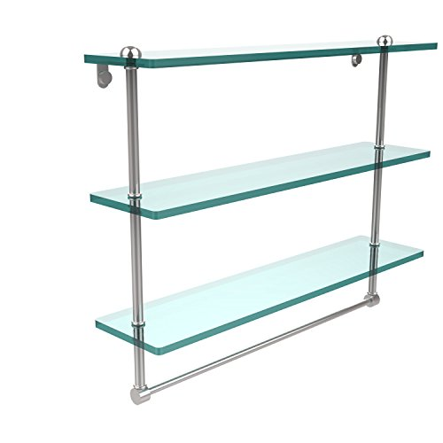 Allied Brass RC-5/22TB-PC 22 Inch Triple Tiered Glass Shelf with Integrated Towel Bar, Polished Chrome