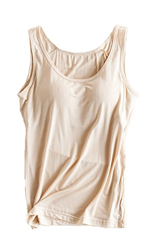 Foxexy Womens Modal Built-in Bra Padded Active Strap Camisole Tanks Tops Khaki US 10-12 (Underwire Cami)