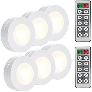 LUNSY Wireless LED Puck Lights Closet Lights Battery Operated with Remote Control Kitchen Under Cabinet Lighting Wireless 4000K Natural White - 6 Pack  sc 1 st  Amazon.com & Amazon.com: Lifeholder 6 Pack Led Puck Lights Timer Wireless ...