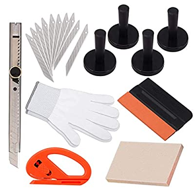 Ehdis New Installation Tool Kit for Car Auto Glass Protective Film Installing Vehicle Pro Windshield Film Wrap Scraper Application ToolKits: Automotive