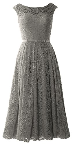 Gown Grau Cocktail Caps Sleeve Party Wedding MACloth Length Tea Lace Dress Formal fqZPPvx
