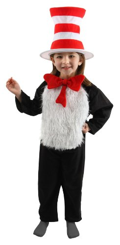 Dr. Seuss Cat in the Hat Kids (S, 4-6) Costume Jumpsuit with Hat, -