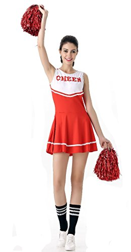 Cheerleader Costumes For Women (SWISH Women's Adult Cheerleader Costume Fancy Dress Sport Cheerleading Ourfit (Red))