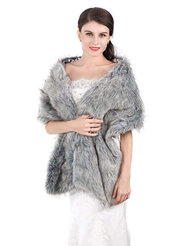 Aukmla Faux Fur Shawl Wedding Fur Wraps and Shawls Bridal Fur Stole Winter Cape Shrug for Brides and Bridesmaids (Grey)