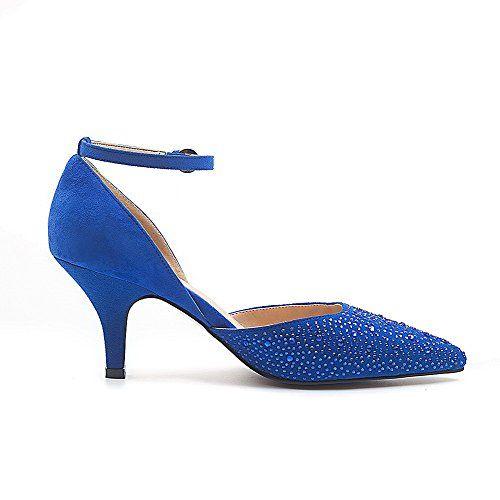 AmoonyFashion Womens Kitten-Heels Blend Materials Solid Buckle Pointed Closed Toe Pumps-Shoes Blue fjyvWS