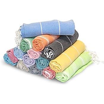 "LaModaHome (SET OF 8) Hand Face Turkish Pestemal Fouta Kitchen Baby Care Towel, 15.5 x 31.5"", Random Color"