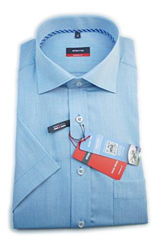 ETERNA Herren Kurzarm Hemd Modern Fit Chambray blau 4290.15.C187