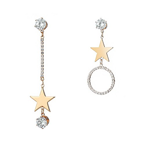 ech Rhinestone Asymmetric Star Round Crystal Fish Hook Dangle Earrings,Gold ()