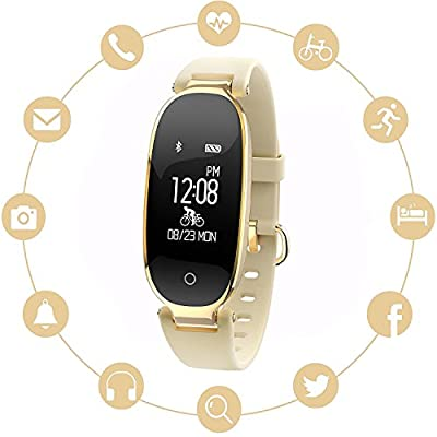 WFCL Fitness Tracker, Waterproof Activity Tracker with Pedometer Step and Sleep Monitor Calorie Counter Smart Bracelet for Women (gold)