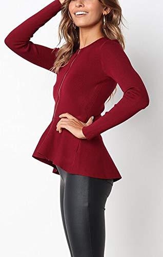 Casual Rosso Tops Giacca Oufour Primavera Vino Cime Zip Giacche Blazer Con E Autunno Manica Donne Outerwear Jacket Lunga Corto Coat Cappotto Sottile 1fwXqB