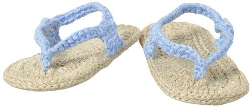 Jefferies Socks Baby-Boys Newborn My First Flip Flops Boy Bootie, Light Blue/Khaki, Newborn