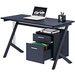 piranha pc29g graphite black computer desk with a4 suspension file drawer office. Black Bedroom Furniture Sets. Home Design Ideas
