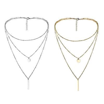 Thunaraz 2Pcs Layered Choker Necklace for Girls Womens Choker Necklace Set Multilayer Chain Stick Pendant Necklece 15''