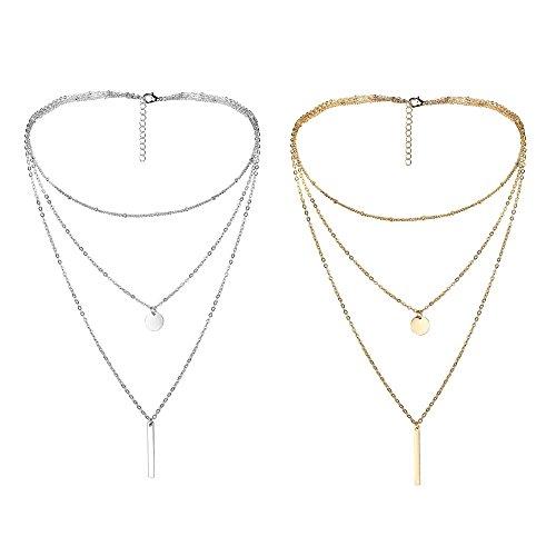 Thunaraz 2Pcs Layered Choker Necklace for Girls Womens Choker Necklace Set Multilayer Chain Stick Pendant Necklece 15'' (Silver Necklace Layered)