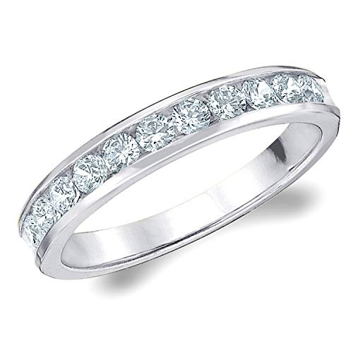 1/2 CT Classic Channel-Set Lab Grown Diamond Ring in 14K White Gold, Sparkling in E-F Color and VS Clarity- Finger Size 5.25