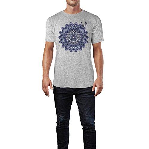 SINUS ART ® Feines detailliertes Mandala Herren T-Shirts in hellgrau Fun Shirt mit tollen Aufdruck