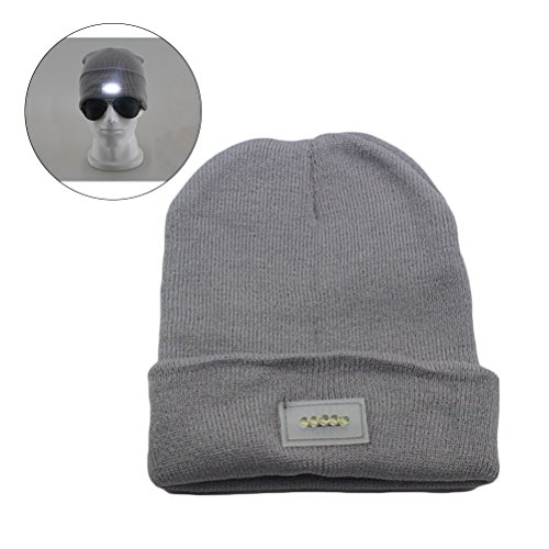 Men and Women Winter Warm Wool Knitted Hat Unisex LED Flash Light Beanie Cap for Outdoor Camping Hiking Climbing Mountaineering (Grey) (Climbing Wool Beanie)