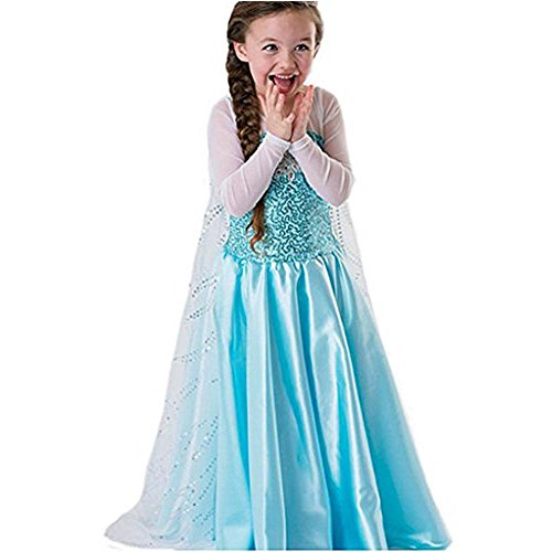 [FE1 Disney Frozen Inspired Elsa Costume Girl Dress Sky Blue Halloween Cosplay Party 3T-14 (12/14] (Frozen Costumes Women)