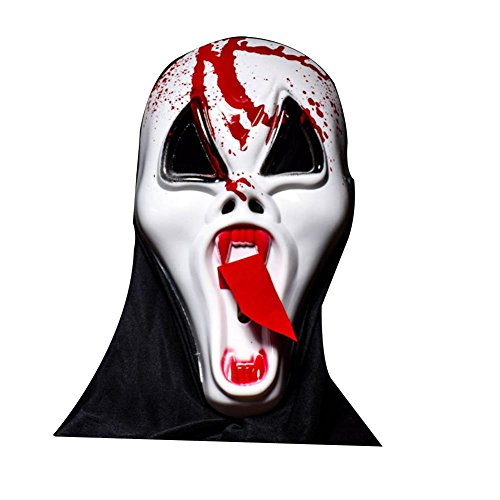 WCHAOEN M05 Halloween Bar Haunted Full Face Scary Mask Long Face Tongue Vampire Skull Ghosts Dress Up Fishing Hunting ()