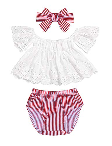 Red Stripe Bow - Infant Baby Girls Clothes 3 6 12 18 Months Lace Off Shoulder Short Sleeve Tops+Stripe Shorts +Bow Headband Summer Outfits Set(6-12Months) Red
