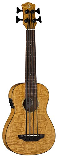 Luna Bari-Bass Ukulele with Preamp-Quilt Top (UKE BBASS QA