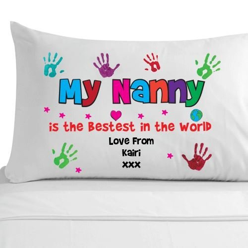 My Nanny Pillow Case 100 Egyptian Cotton Pillowcase Personalised Giftsunique Gifts Amazoncouk Kitchen Home