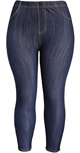 KMystic Womens Plus Size Classic Denim Look Leggings Tights Pants (2XL, Navy)