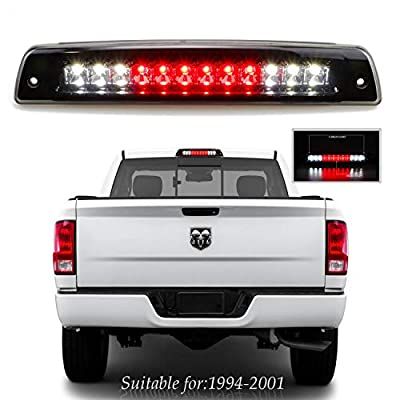 for 1994-2001 Dodge Ram 1500 2500 3500 LED Third 3rd Brake High Mount Stop Light Cargo Lamp (Chrome Housing + Smoke Lens): Automotive
