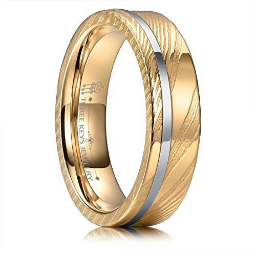 THREE KEYS JEWELRY 6mm Damascus Steel Mens Wedding Ring Domed Rose Gold Wood Grain Silver Offset Inlay Wedding Band Engagement Ring Size 12