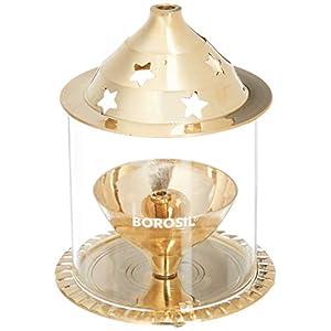 Borosil Akhand Diya (Medium, Brass) (HDTRAKDB100)