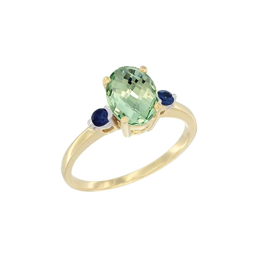 10K Yellow Gold Natural Green Amethyst Ring Oval 9x7 mm Blue Sapphire Accent, sizes 5 to 10
