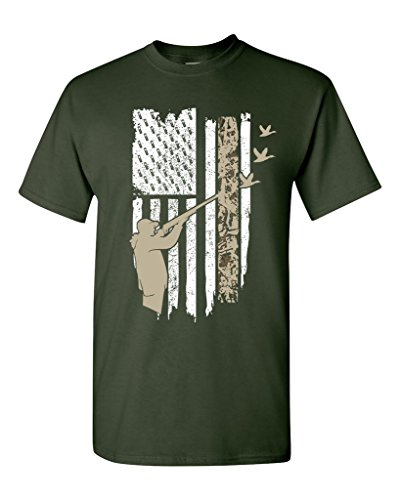 Hunting Flag Gun Rifle Hunt Duck American Flag USA Adult DT T-Shirt Tee (Medium, Forest Green)