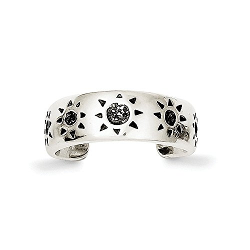 Solid 925 Sterling Silver Antiqued-Style Sun Toe Ring (6mm) by Sonia Jewels