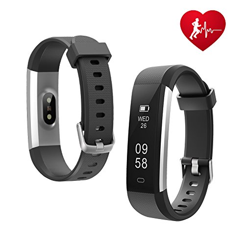 Letsfit Fitness Tracker HR, Sports Fitness Watch with Heart Rate Monitor and Sleep Monitor, Pedometer Watch, Step Counter, Bluetooth Smart Band for Kids Women and Men