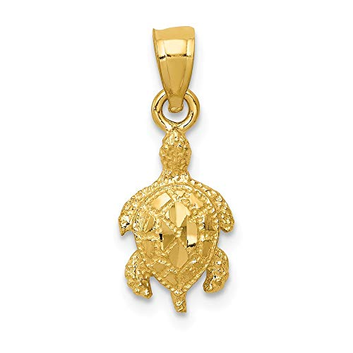 14k Yellow Gold Turtle Pendant Charm Necklace Sea Life Fine Jewelry Gifts For Women For Her ()