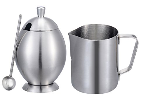 Sugar Bowl, KSENDALO Stainless Sugar Bowl Cream Set, Deluxe Stainless Milk Pitcher Sugar Bowl Pot Set, For Coffee Latte Tea Frothing Milk