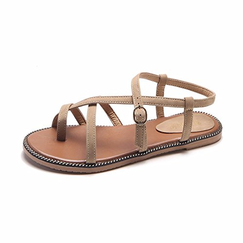 student versatile fine girls XIAOGEGE sandals a with cross and resort Yellow shoes footwear strap flat Flat the beach tether sleek T6wqF1w