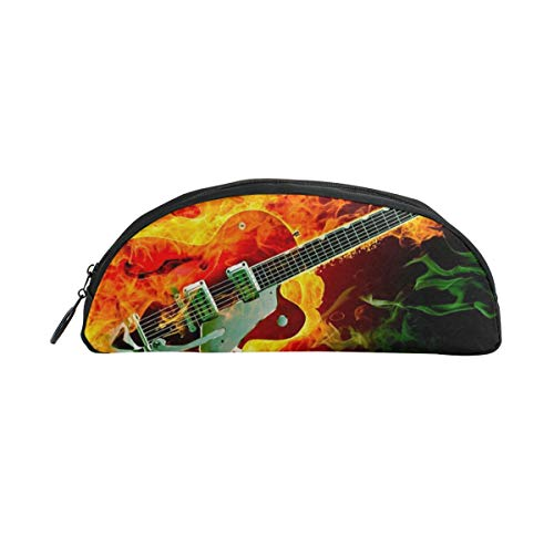 HengZhe Pencil Case Rockabilly Guitar Fire Pen Bag Cosmetic Pouch Students Stationery Holder Office Organizer ()