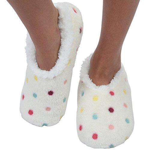 Snoozies Womens Lotsa Dots Colorful Cozy Sherpa Non Skid Slipper Socks - White, Large