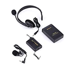 Yosoo Remote Wireless Microphone Headset Stage MIC Receiver + Microphone Transmitter Lavalier For Aerobics, Churches, Schools, Speeches, Lectures, Meetings