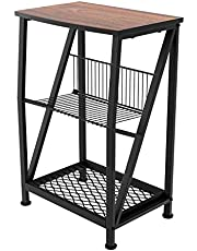 Vintage 3 Tier X Design Rustic End Table, IParts expert Modern Industrial Side Table or Sofa End Table, 24 Inch Nightstand for Small Spaces Wood & Metal H Shape with Book Storage Holder