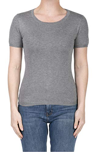 SHOP DORDOR BW-055 Women's Short Sleeve Crewneck Slim Fit Knit Pullover Sweater HEATHERGREY M
