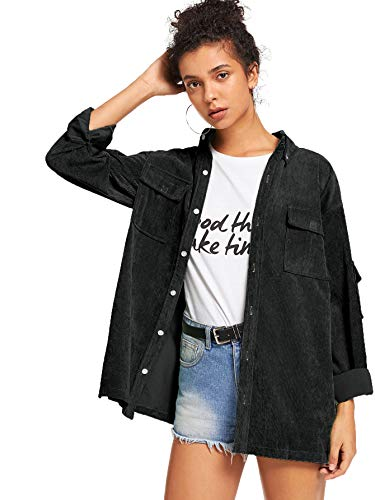 ROMWE Women's Collar Button Down Roll up Long Sleeve Casual Jacket Outwear with Front Pockets Black X-Large
