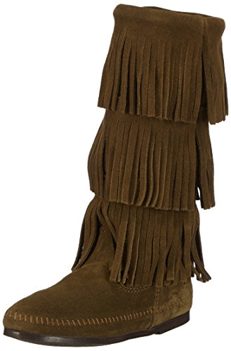 Minnetonka Fringe Boot Loden Three Layer Women's rqrBaAH